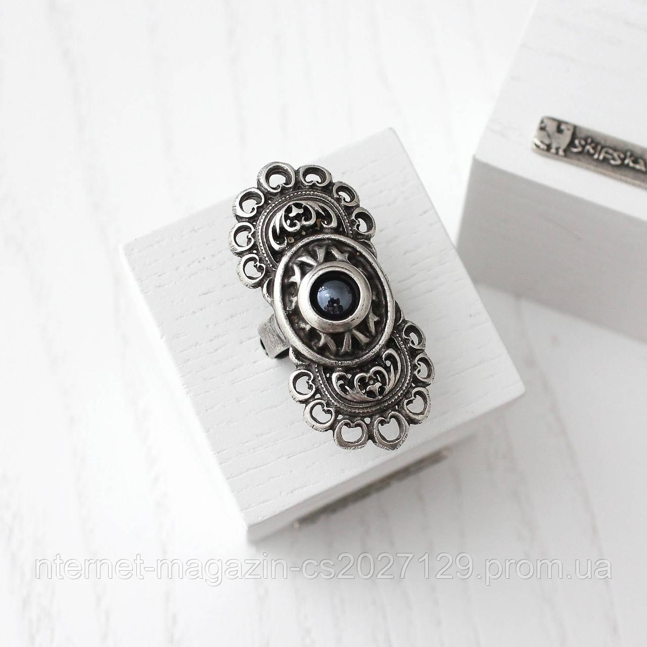 """Кольцо женское """"Романия"""" (вставка - гематит) - стиль бохо"""