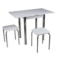 Кухонный комплект Тавол Компакт (раскладной стол+2 табурета) 50(100)х60х75 ножки хром  ТМ Тавол