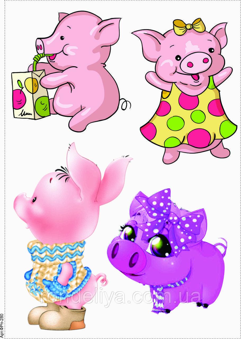 """Фетр с рисунком """"Свинки 2"""""""