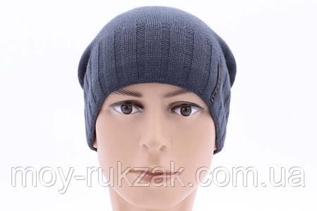 """Комплект шапка и шарф вязаная мужская """"Стинг"""" джинс - антрацит 906077, фото 2"""