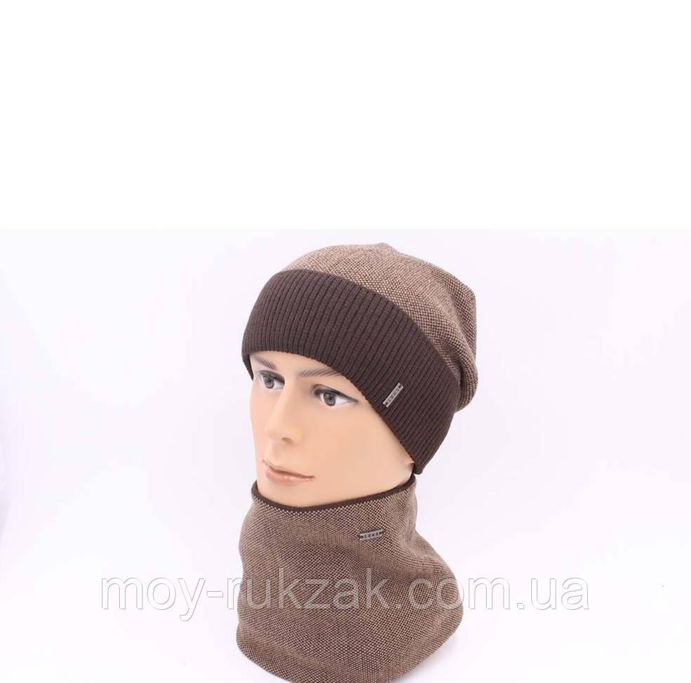 """Комплект шапка и шарф вязаная мужская """"Тайфун"""" шоколад - бежевый 906086"""