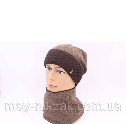 "Комплект шапка и шарф вязаная мужская ""Тайфун"" шоколад - бежевый 906086, фото 2"