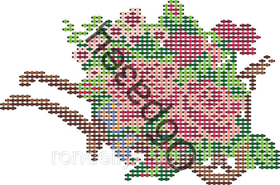 Схема для вышивки бисером «Тележка с цветами»