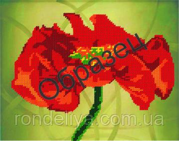 Схема для вышивки бисером «Красный таинственный цветок»