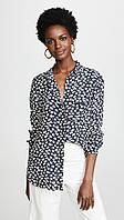 Женская темно-синяя блуза с принтом GANNI, фото 1