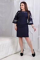 Стильное платье свободного покроя расклешенные рукава креп дайвинг, отделка кружево Размер :50,52,54,56