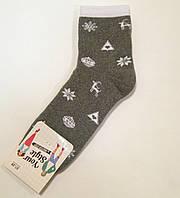 Махровые хлопковые женские носки с новогодним рисунком