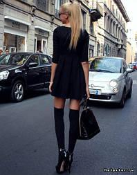 Жіночі бавовняні гетри (ботфорти) чорного кольору
