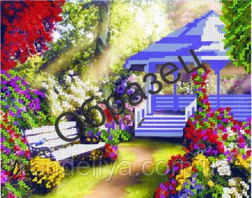 Схема для вышивки бисером «Беседка в саду»