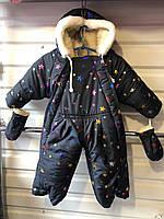 Человечек зимний, овчина+силикон, размер 80-86, темно синий, принт звездочка (возможен микс цветов)