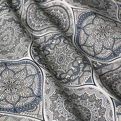 Ткань для штор с абстрактным рисунком серо-синего цвета
