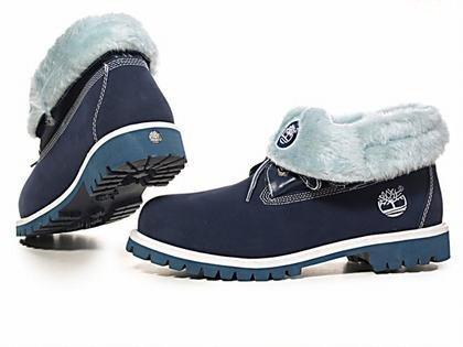 Оригинальные женские ботинки Тимберленд original Timberland Roll Top Blue С МЕХОМ синие