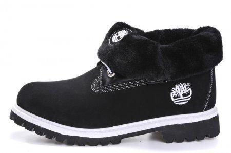Женские ботинки Тимберленд original Timberland Roll Top 03W С МЕХОМ черные