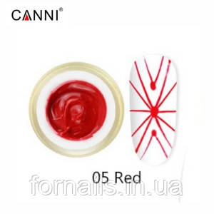 Гель-паутинка Canni №5, красный | 3D Embossing gel, 8 мл