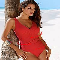 Стильный купальник женский с утяжкой больших размеров красный опт, фото 1