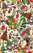 Детская новогодняя ткань с принтом Санта, елки, снеговики на бежевом фоне ( ткань для мешка Деда Мороза)