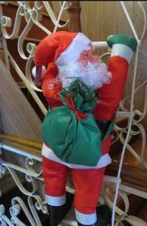 Новогодний декор Санта Клаус на лестнице, Дед Мороз на лестнице 90 см