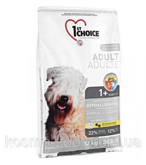 Сухой корм Фест Чойс (1st Choice Hypoallergenic Adult) гипоаллергенный с уткой и картошкой для собак, 12 кг