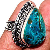 Азурит хризоколла кольцо с камнем азурит-хризоколла в серебре Индия