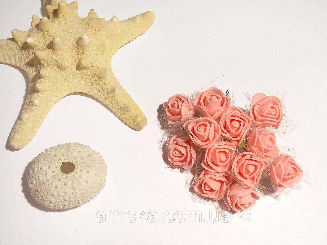 Розы латексные (с фатином) персиковые