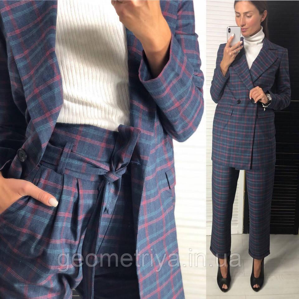 a9ebda164cf NEW! Женский брючный костюм в клетку синего цвета на байке -  Интернет-магазин Геометрия