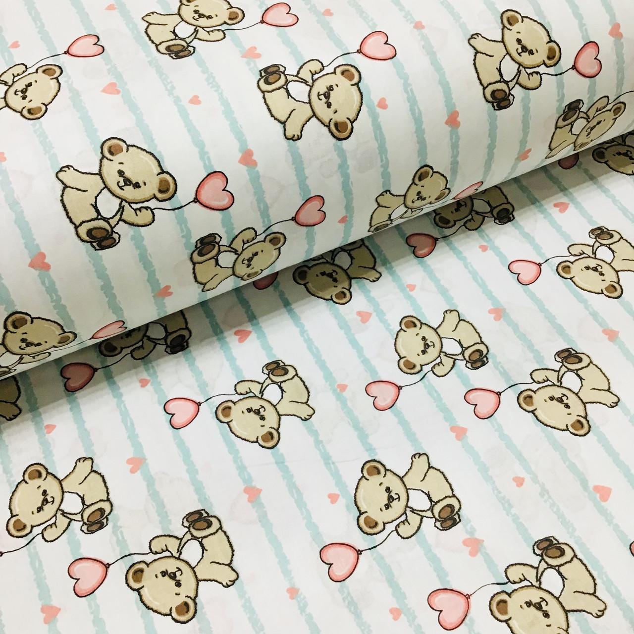 Ткань поплин мишки с розовыми воздушными шариками на мятной полоске на белом (ТУРЦИЯ шир. 2,4 м) №32-115