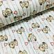 Ткань поплин мишки с розовыми воздушными шариками на мятной полоске на белом (ТУРЦИЯ шир. 2,4 м) №32-115, фото 2