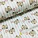 Ткань поплин мишки с розовыми воздушными шариками на мятной полоске на белом (ТУРЦИЯ шир. 2,4 м) №32-115, фото 3