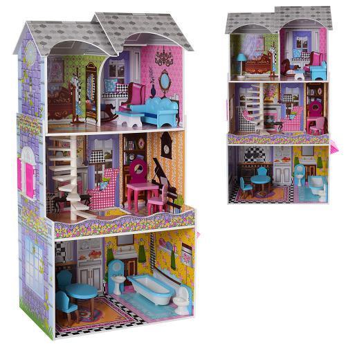 Деревянный домик с мебелью для кукол (аналог KidKraft) арт. 2010