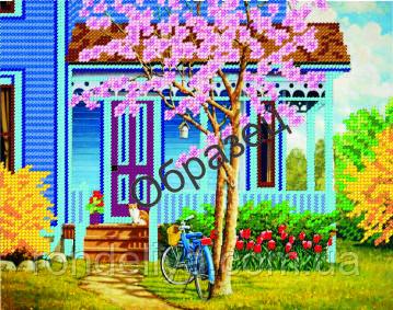 Схема для вышивки бисером «Дом в саду»