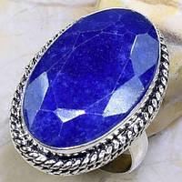 Красивое кольцо с природным сапфиром 20 размер. Кольцо с камнем сапфир в серебре. Индия!, фото 1