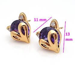 Серьги гвоздики, Лиса с фиолетовым цирконием, медсплав Xuping 18К