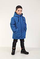 Детская куртка зимняя на пуху для мальчика, 236BLUE 130 см, 160 см Синяя