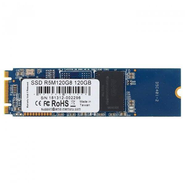 Твердотельный накопитель M.2 120Gb, AMD Radeon R5, SATA3, TLC, 530/400 MB/s (R5M