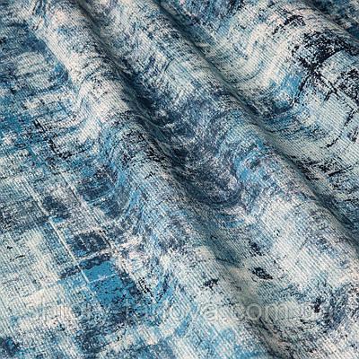 Ткань для штор c абстрактным узором бело-голубого цвета