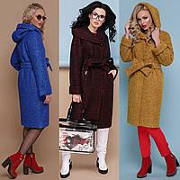 Зимнее женское пальто ниже колена с капюшоном и поясом, фото 1