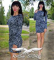 Приталенное платье мини из ангоры-софт