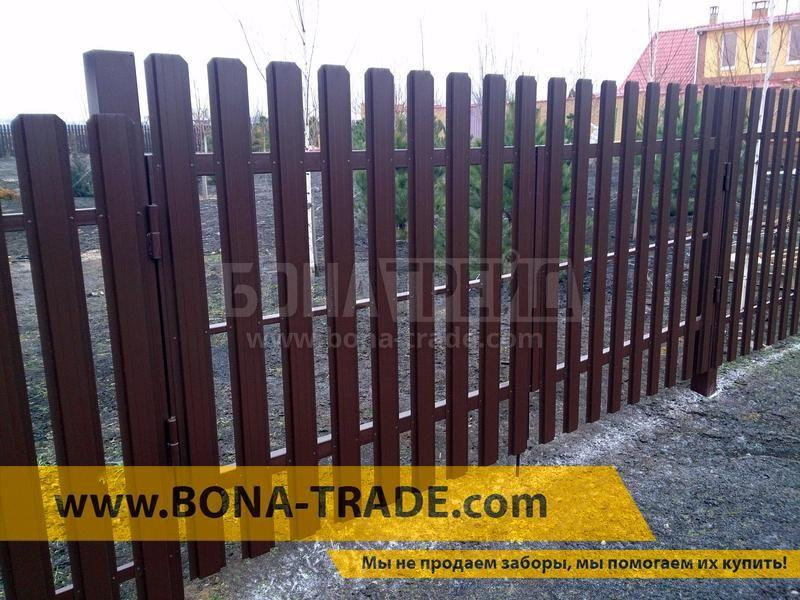 Ворота орного типу для паркану з одностороннім заповненням секцій