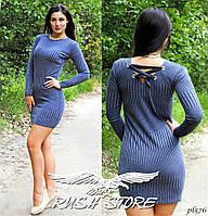 Платье с лентами из трикотажа