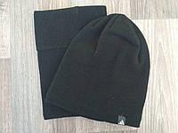 Спортивная шапка черная Adidas + горловик (бафф) реплика