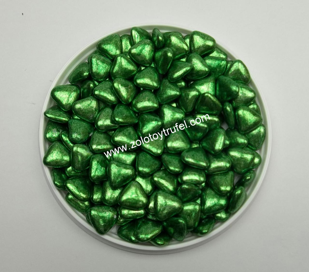 """Декор """"Сердца перламутровые зеленые с шоколадом"""""""