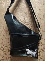 Барсетка слинг на грудь, через плечо Puma черная экокожа, фото 1