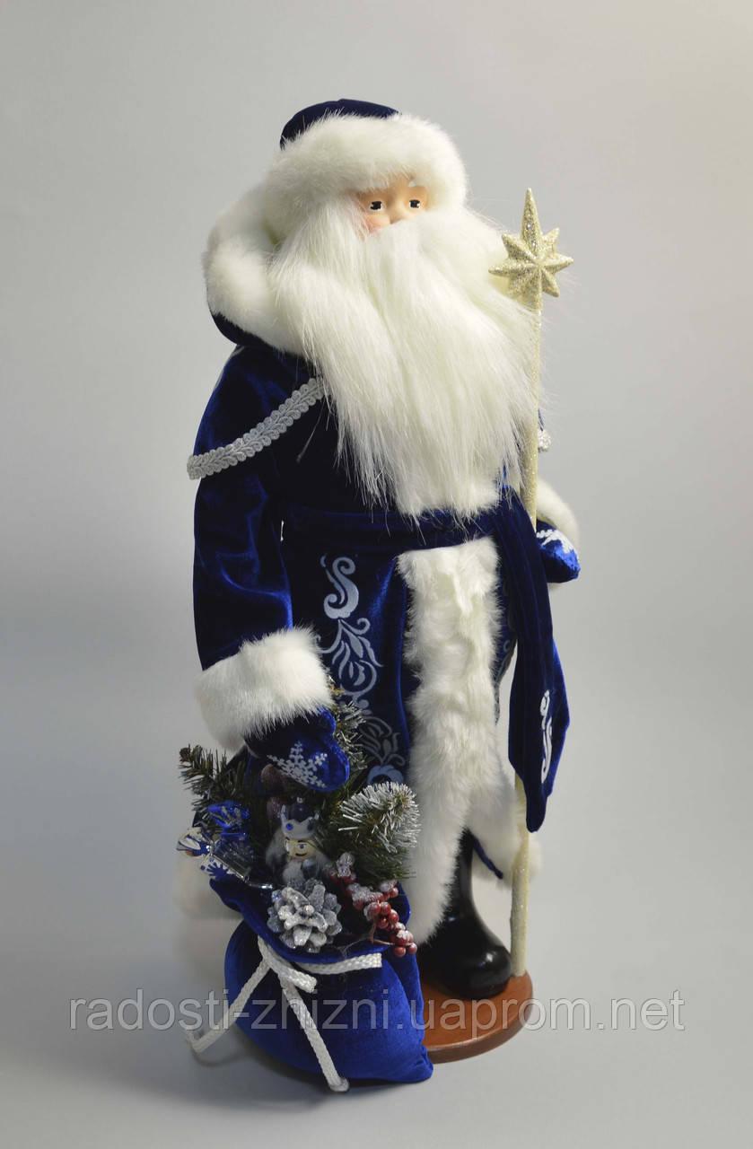 Дед Мороз в синем с белым узором (под елку) 53 см