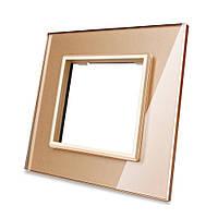Рамка для розетки Livolo 1 пост, цвет золото, материал стекло (VL-C7-SR-13)
