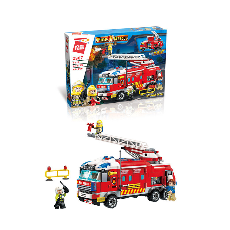 Конструктор  пожарная машина, фигурки, 366дет