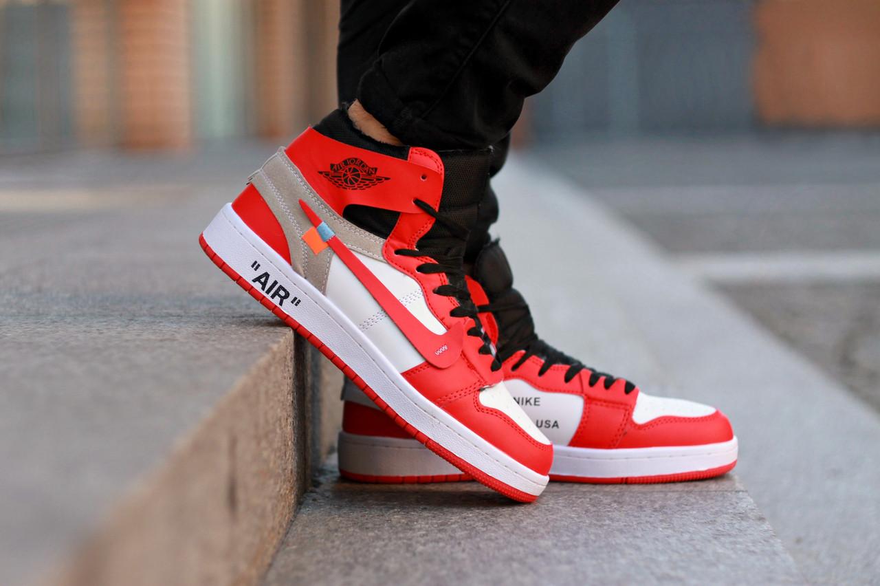 Зимние кроссовки на меху Nike Air Jordan 1 Retro Off-White