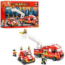 Конструктор SLUBAN пожарные спасатели,транспорт,фигурки,368дет