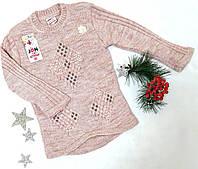 Кофта детская, ажурная вязка, трикотаж вязка, размер 4-10 лет, фрезовый