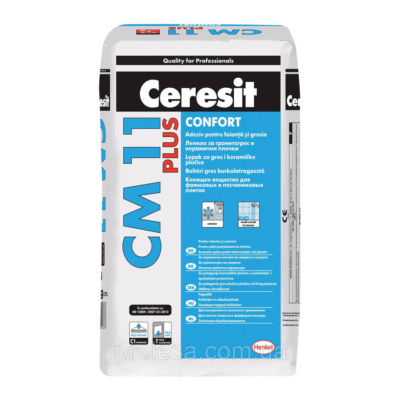 Клеящая смесь для плитки Ceresit CM-11 PLUS Comfort Gres (25кг)