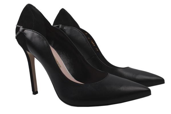 Туфли женские на шпильке из натуральной кожи, черные Bravo Moda Польша